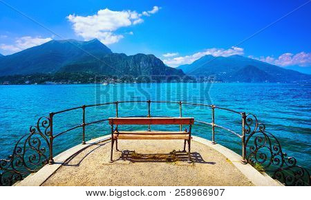 Bench On Lakefront In Como Lake Landscape. Bellagio Italy Europe