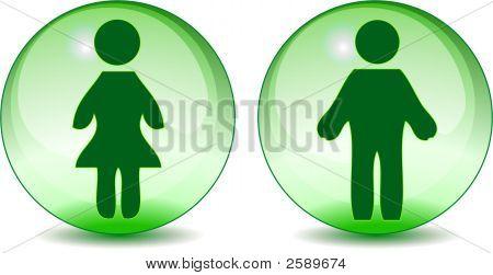 Man Woman Toilet Signs On Green Glass Like Globe
