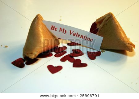 Be my Valentine Fortune cookie on white foam core with metalic red hearts