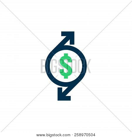 Money Transfer Icon. Chargeback Contour Sign. Quick Fund Cash Back Symbol. Currency Exchange Refinan