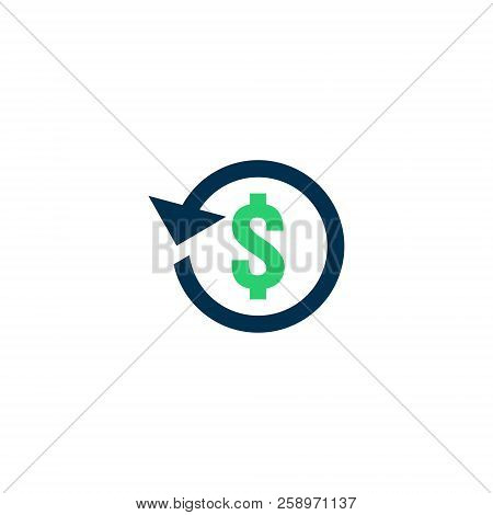 Refund Money Icon. Chargeback Contour Sign. Quick Fund Cash Back Symbol. Currency Exchange Refinance