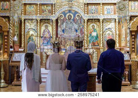 San Francisco, California - September 16, 2018: Traditional Russian Wedding Ceremony In Holy Virgin