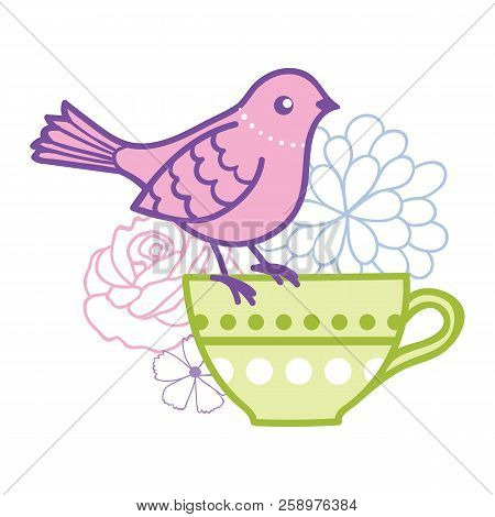 Bird On A Teacup Vector Illustration. Great For Tea Party Invitations, Outside Wedding Invitations,