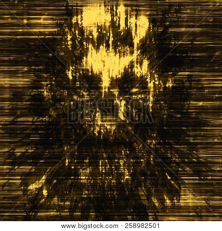 Terrible Skull Abstraction Into Small Debris. Background In Genre Of Horror. Orange Color.