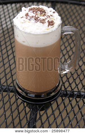Mocha Cappuccino with whipped cream chocolate powder