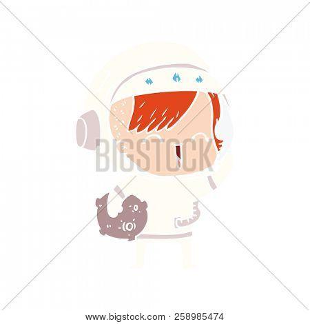 flat color style cartoon happy spacegirl holding moon rock