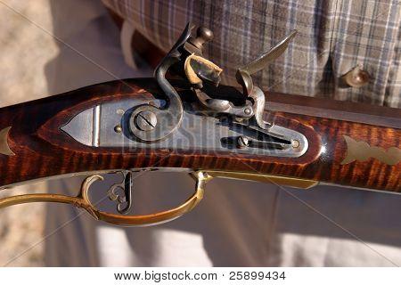 Close up of the Flint Trigger of a antique Black Powder Muzzle Loader Flint Flint Lock Rifle