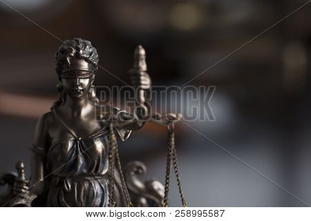 Justice Concept. Statue Of Justice - Themis In The Judge Office.