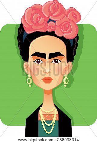 Mexico, Mexico, September 15 2018, Frida Kahlo Vector Caricature