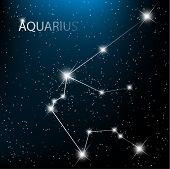 Aquarius vector Zodiac sign  bright stars in cosmos. poster