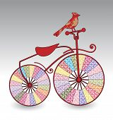 decorative old-fashioned bike with bird poster