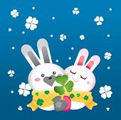 a couple of rabbit in snowy day poster