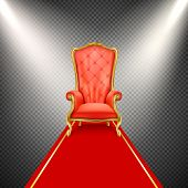 luxurious gilded throne chair with red royal carpet illuminated in beams of spotlight isolated on transparent background. Exclusive, vip seat place. Antique, vintage armchair in realistic style poster