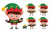 Girl elf christmas vector character set. Kid elves cartoon characters playing and holding christmas elements and objects isolated in white background. Vector illustration. poster