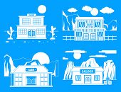 Saloon pub wild west banner concept set. Simple illustration of 4 Saloon pub wild west vector banner concepts for web poster