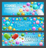 Multivitamin complex of vitamin and mineral pills. Bottle and open capsule with poured out colorful pill of A retinol, C ascorbic acid and B group vitamin. Food supplement and health care design poster