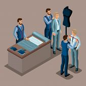 Isometric tailor, the creation of quality clothing to order, a workshop, an atelier. Tailoring. The entrepreneur working for himself, his own business set 2. poster