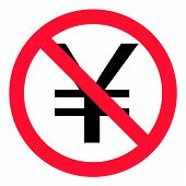 no China Yuan Renminbi (CNY) currency symbol. stop sign on CNY icon for business, money and currency. ban china money sign symbols. prohibition yen yuan forbidden red symbols. poster