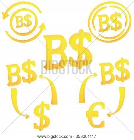 Brunei Dollar Currency Symbol Icon Of Sultanate Of Brunei Vector Illustration On A White Background
