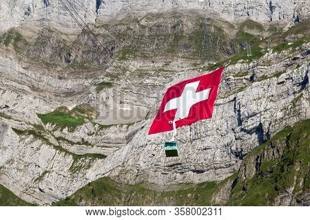 Schwaegalp, Switzerland: 31.07.2018 - Huge Swiss National Flag (80mx80m, 700 Kg), Which Is The Bigge