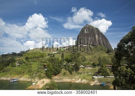 Guatape, Antioquia / Colombia - February 02, 2020. The Stone Of El Peñol Is A Granitic Mass, Compose