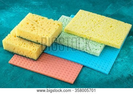 Kitchen Dishcloth, Cleanup Concept, Housework. Colorful Kitchen Sponges For Cleaning Close-up, House