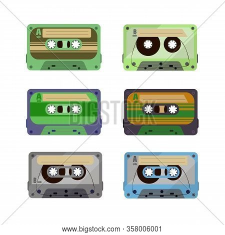 Retro Cassettes. Vintage 1980s Music Tape. Vector Old 90s Coloured Plastic Cassettes Set.