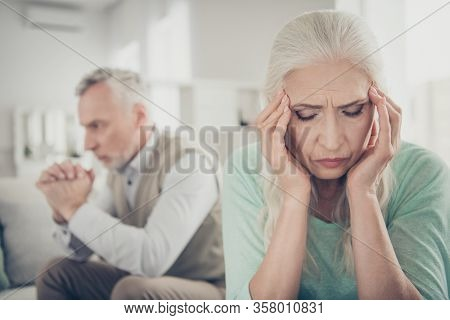 Close Up Photo Of Sad Upset Crying Suffering From Acute Migraine Old Lady Who Is Trying To Calm Down