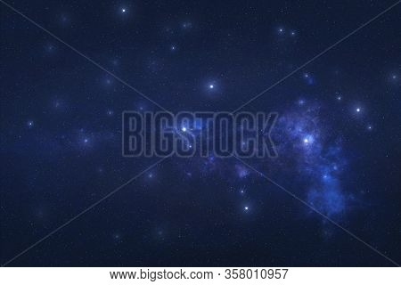Crater Constellation In Outer Space. Crater Constellation Stars On The Night Sky. Elements Of This I