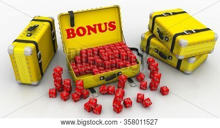 Suitcases With Bonuses. Financial Concept. Suitcases, Red Cubes With Symbols Of Percentage Lie On A