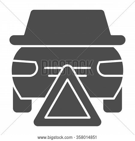 Emergency Stop Solid Icon. Accidents Prevention, Caution Triangle Symbol, Glyph Style Pictogram On W