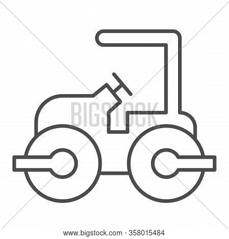 Road Paver Truck Thin Line Icon. Roller Heavy Vehicle For Laying Asphalt Symbol, Outline Style Picto