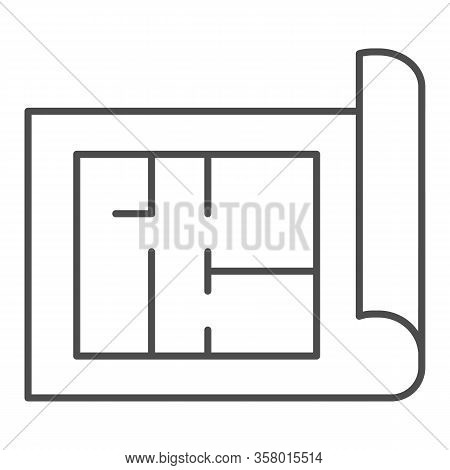 Building Project Thin Line Icon. House Blueprint Paper Or Home Plan Page Symbol, Outline Style Picto
