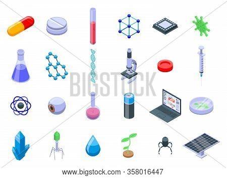 Nanotechnology Icons Set. Isometric Set Of Nanotechnology Vector Icons For Web Design Isolated On Wh