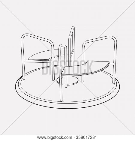 Roundabouts Playground Icon Line Element. Vector Illustration Of Roundabouts Playground Icon Line Is