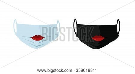 Safety Breathing Masks. White And Black Breathing Medical Masks With Red Lips. Hospital Or Pollution