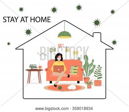 Work At Home During An Outbreak Of The Covid-19 Virus. People Work At Home In Self-isolation To Prev