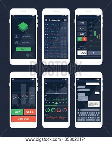 Trading Mobile App Interface Template Set. Smartphone Applications Variety, Modern Software Demonstr