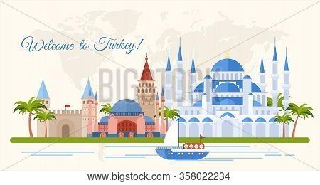 Welcome To Turkey Flat Banner Vector Template. Famous Turkish Architectural Landmarks Cartoon Illust