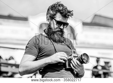 Manual Settings. Photographer Hold Vintage Camera. Modern Blogger. Content Creator. Man Bearded Hips