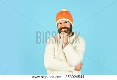 Hipster Style. Head In Warm Hat. Mature Emotional Hipster Funny Style Accessory. Bearded Hipster. Ha