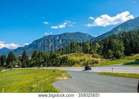 Carinthia, Austria - August 09, 2019: Motorbike Rides On A Alpine Road In Carinthian Alps, Carinthia