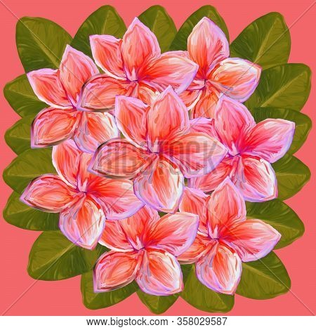 Tropical Lush Bouquet With Green Exotic Leaves And Flowers. Frangipani Plumeria Tropical Flowers. Su
