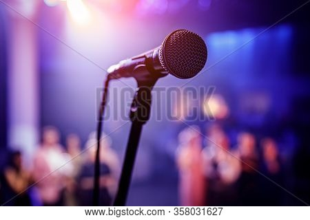 The Microphone On Stage Before The Artist Performance.