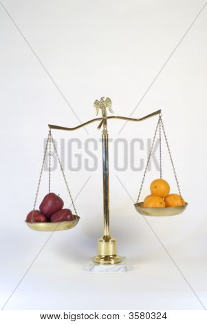 Brass Scales Of Justice Showing Comparison Of Apples To Oranges
