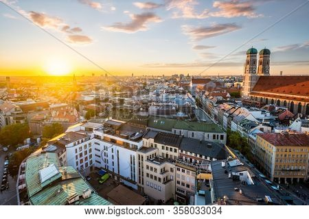 Aerial view of Munich and Frauenkirche from St. Peter's church on sunset. Munich, Germany
