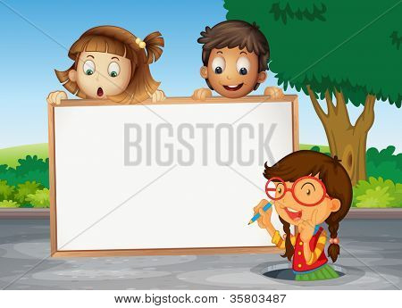 illustration of kids and white board on the road
