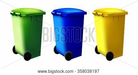 Sorting System, Recycled Symbol On Colorful Containers. Set Of Street Dustbin. Bin Trash Isolated Co