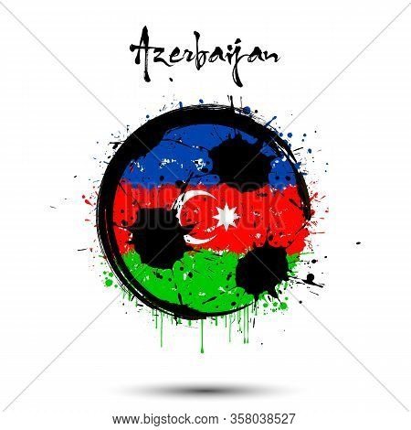 Abstract Soccer Ball Painted In The Colors Of The Azerbaijan Flag. Flag Of Azerbaijan In The Form Of