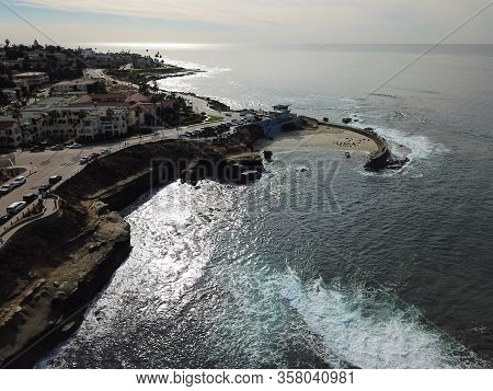 Aerial View Of La Jolla Cove, Small Picturesque Cove And Beach Surrounded By Cliffs, San Diego, Cali